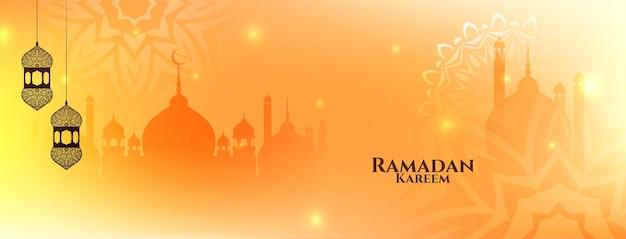 Elegante banner islâmico ramadan kareem