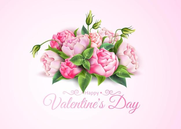 Elegante bouquet de rosas com a inscrição de feliz dia dos namorados design floral vintage Vetor Premium