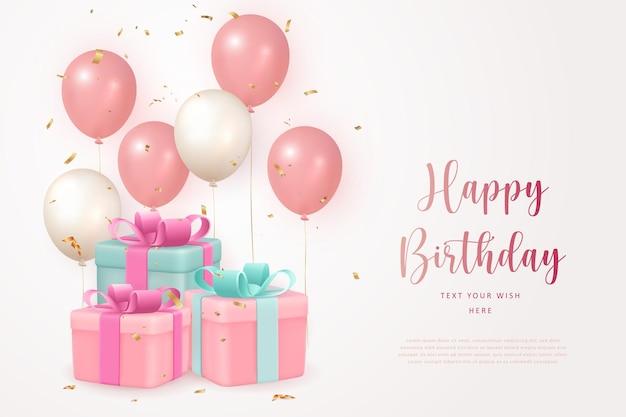 Elegante caixa de presente de festa de feliz aniversário com balão cor-de-rosa girlsih