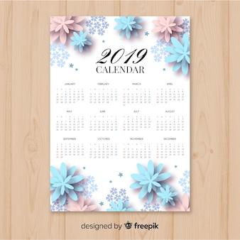 Elegante calendário 2019 floral com design plano