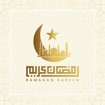 Elegante caligrafia ramadan kareem com imagem de mesquita