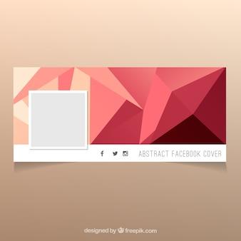 Elegante capa poligonal de facebook em tons quentes