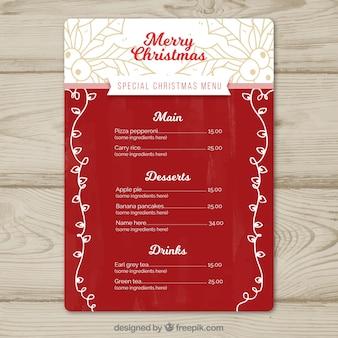 Elegante cardápio de Natal com esboços