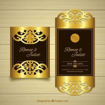 Elegante cartão de casamento dourado