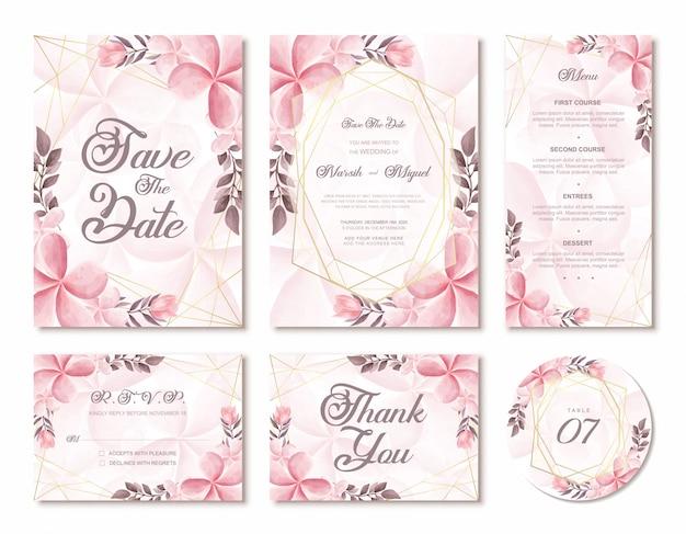 Elegante cartão de convite de casamento aquarela floral flores com moldura geométrica dourada