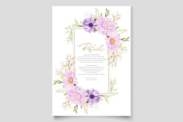 Elegante cartão de convite em aquarela de crisântemo