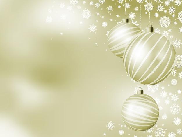 Elegante cartão de natal com bolas.