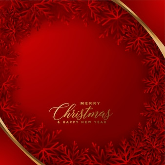 Elegante cartão de natal vermelho com design de flocos de neve