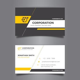 Elegante cartão de visita amarelo e cinza