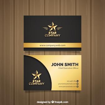 Elegante cartão de visita dourado