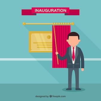 Elegante cerimônia de inauguração com personagem