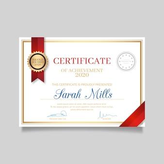 Elegante certificado de agradecimento