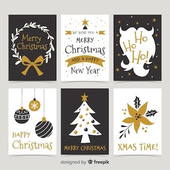 Elegante coleção de cartão de feliz natal em preto e dourado