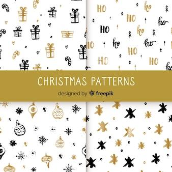 Elegante coleção de padrão de natal preto e dourado