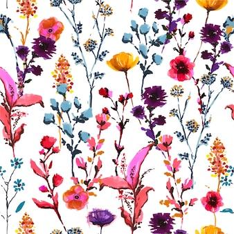 Elegante colorido florescendo muitos tipos de flores silvestres de caneta marcador de mão desenhada e tinta esboçar padrão sem emenda em vetor, design de moda, tecido, papel de parede, envolvimento, estilo moderno