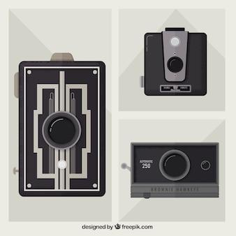 Elegante conjunto de câmeras retro