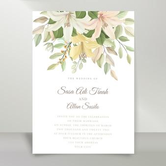Elegante conjunto de cartão de convite de casamento com lírio