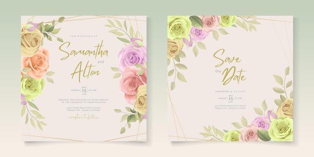 Elegante conjunto de cartão de convite de casamento floral colorido e macio