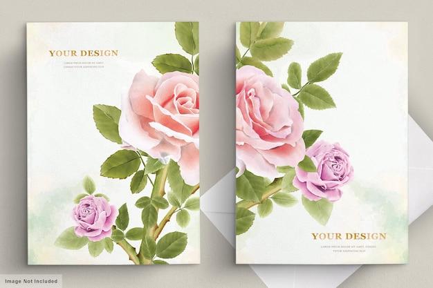 Elegante conjunto de cartão de convite de lírio desenhado à mão