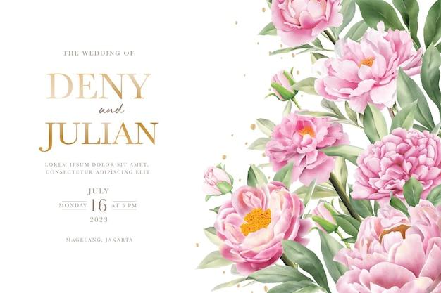 Elegante conjunto de cartão de convite de peônia desenhada