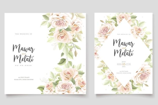 Elegante conjunto de cartão de convite de rosas desenhadas à mão
