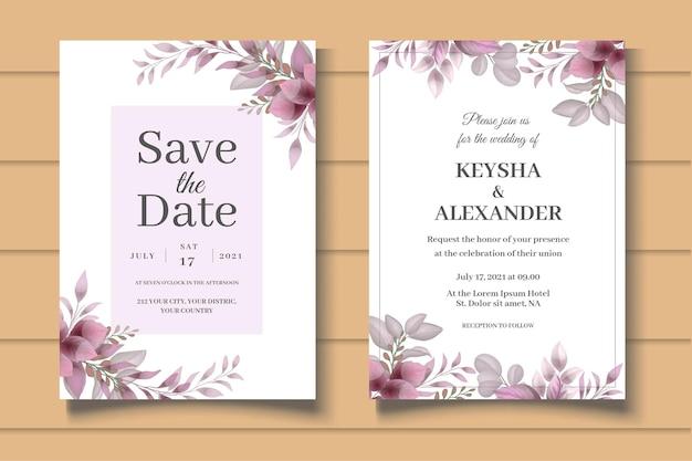 Elegante conjunto de convites de casamento com lindas folhas