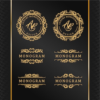 Elegante conjunto de desenhos de ornamento de ouro com fundo preto luxuoso
