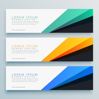 Elegante conjunto de design de vetor de três cabeçalhos