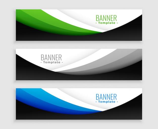 Elegante conjunto de modelo de banners web ondulado
