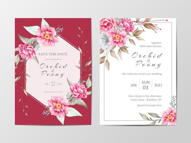 Elegante conjunto de modelo de cartão de convite de casamento botânica vermelho