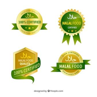 Elegante conjunto de rótulos de comida halal com estilo dourado