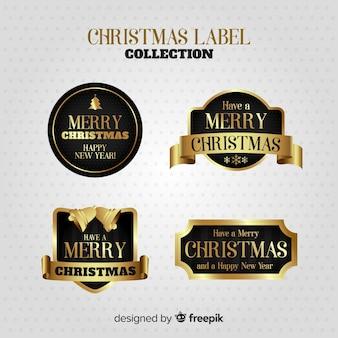 Elegante conjunto de rótulos de natal dourado