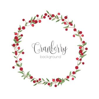 Elegante coroa redonda ou moldura circular feita de raminhos de cranberry desenhados à mão