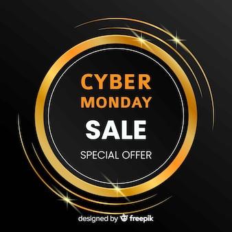 Elegante cyber segunda-feira venda fundo com texto dourado