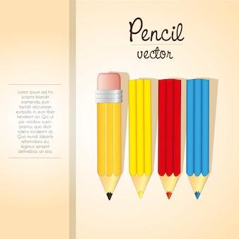 Elegante de listra de lápis de cor e modelo de espaço