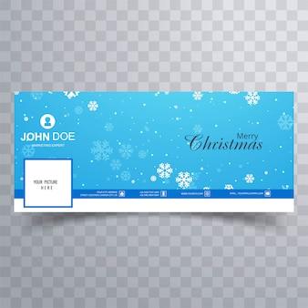 Elegante decorativo feliz natal facebook banner modelo vector