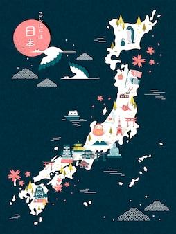 Elegante desenho de mapa de viagem para o japão - hello japan em japonês no canto superior esquerdo