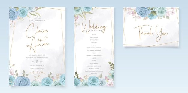 Elegante design de cartão de casamento com flores azuis