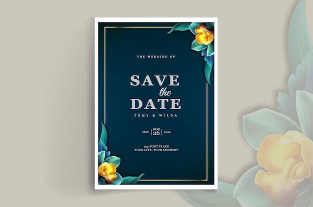 Elegante design de cartão de convite de casamento para salvar a data