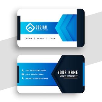 Elegante design de cartão de visita geométrico azul
