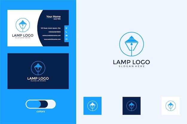 Elegante design de lâmpada de jardim logotipo e cartão de visita