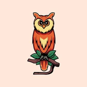 Elegante design de logotipo de coruja empoleirado em um galho