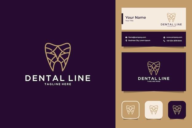 Elegante design de logotipo e cartão de visita em estilo de arte de linha dental
