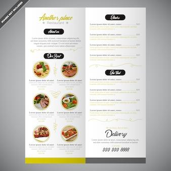 Elegante design de modelo de menu de restaurante editável