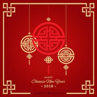 Elegante design do ano novo vermelho chinês