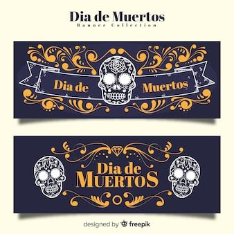 Elegante día de muertos banners com estilo vintage