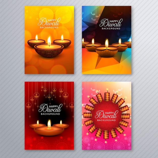 Elegante diwali cartão modelo brochura conjunto
