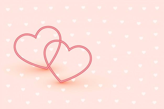 Elegante dois corações de linha no fundo rosa suave
