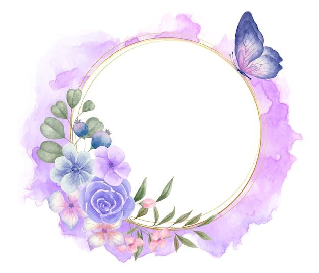 Elegante e adorável aquarela moldura floral com linda borboleta