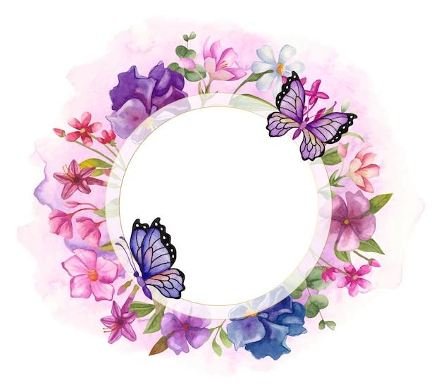 Elegante e adorável aquarela moldura floral com lindas borboletas